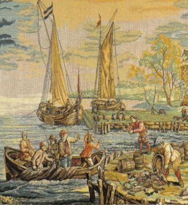 L'arrivée au port tapisserie