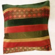 Housse de coussin rayé vert et rouge multi couleurs