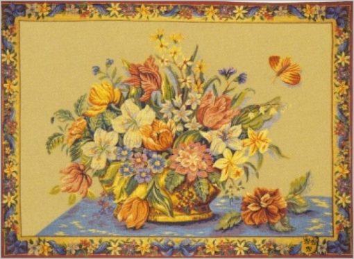 Panier fleuri (fond jaune)